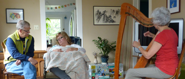 harp playing for dying baby
