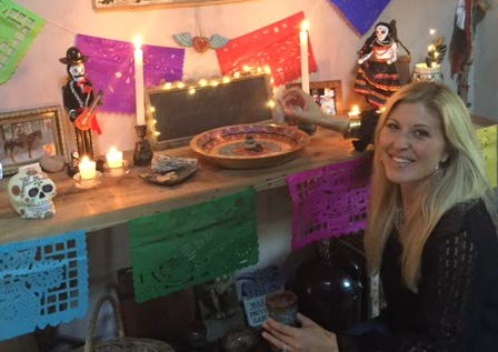 Jessica caldwell by her Day of the Dead altar