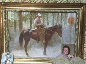 photo of a man on a horse in a frame on the altar. Jessica's father