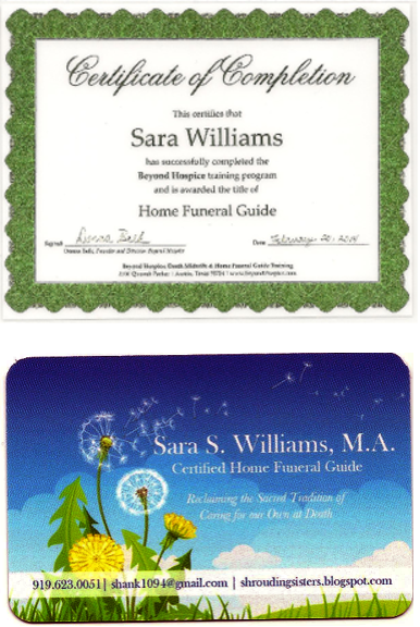 certificate of completion and business card for home funeral guide Sara Williams